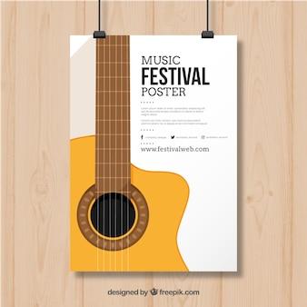 Disegno del manifesto con la chitarra per il festival musicale