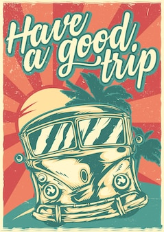 Poster design con bus surf hippie