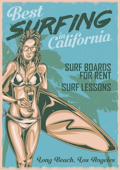 Poster design con illustraion di ragazza con cocktail e tavola da surf