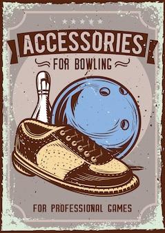 Design poster con illustrazione della pubblicità di accessori da bowling