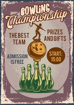 Design poster con illustrazione della pubblicità della competizione di bowling