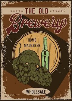 Design poster con illustrazione della pubblicità del birrificio