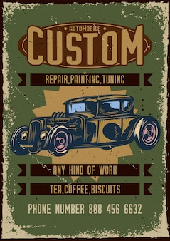 Poster design with illustration of advertising of custom car service