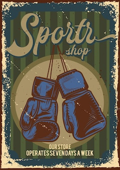 Poster design with illustration of advertising of sports store