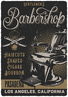 Poster design with illustration of barbershop chair