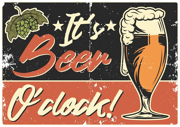 Poster design with illustration of beer mug
