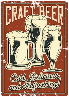 Poster design with illustration of beer mugs