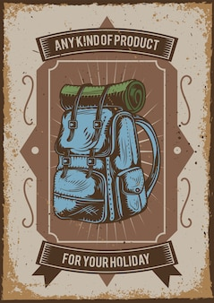 Poster design with illustration of a camping backpack
