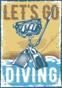 Design poster con illustrazione di attrezzatura subacquea