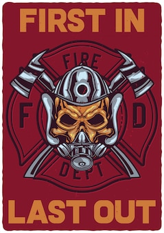 Poster design with illustration of firefighter skull