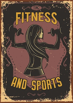 Poster design with illustration of a fitness girl with dumbbells