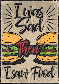 Design poster con illustrazione di hamburger