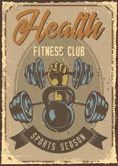 Design poster con illustrazione di una mano che tiene un peso