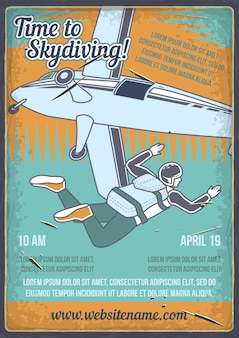 Poster design with illustration of a man with a parachute and an airplane.