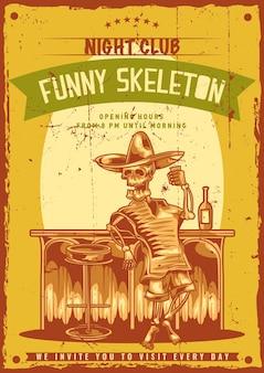 Design poster con illustrazione di scheletro ubriaco messicano