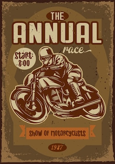 Poster design with illustration of a motorcycle and a rider on vintage background.