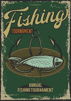 魚とフックのイラストとポスターデザイン