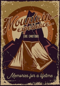 Дизайн плаката с изображением палатки и гор