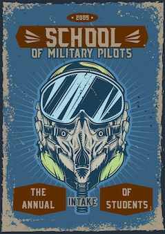 Дизайн плаката с иллюстрацией военного летчика в шлеме