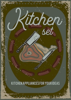 Poster design with illustration of a piece of meat and a knife.