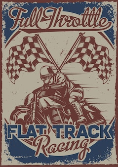 Poster design with illustration of a racer with flags