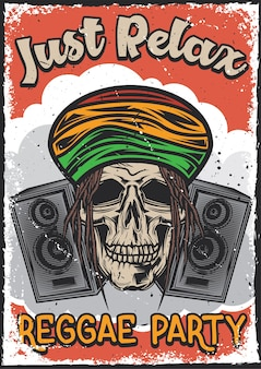 Poster design with illustration of a rasta's skull