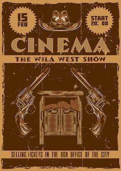 Poster design with illustration of saloon, hat and pistols