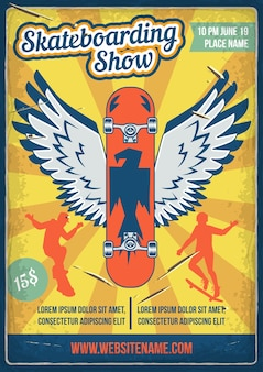 Poster design with illustration of a skateboard with wings and silhouettes of people with skateboards.