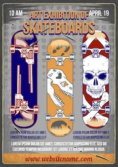 Design poster con illustrazione di skateboard con diverse stampe su di esso.