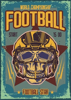 Poster design with illustration of a skull with the helmet