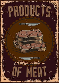 Poster design with illustration of sliced meat