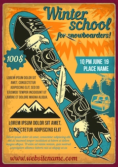 Poster design with illustration of a snowboard.