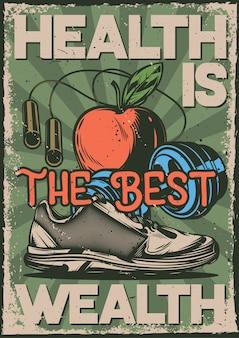 Design poster con illustrazione di articoli sportivi