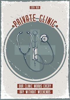 Poster design with illustration of stethoscope