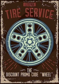 Poster design with illustration of a tire service