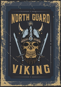 Poster design with illustration of a viking's skull with a helmet