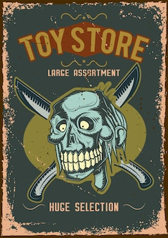 Design poster con illustrazione di uno zombie con coltelli
