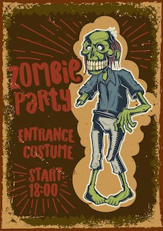 Poster design with illustration of a zombie