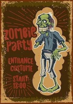 Design poster con illustrazione di uno zombie