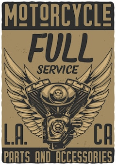 Poster design with illustrations of motorcycle engine and wings