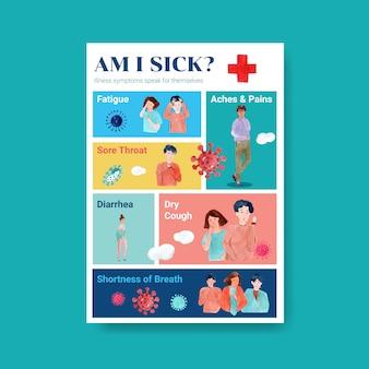 Design del poster con informazioni sulla malattia e l'assistenza sanitaria
