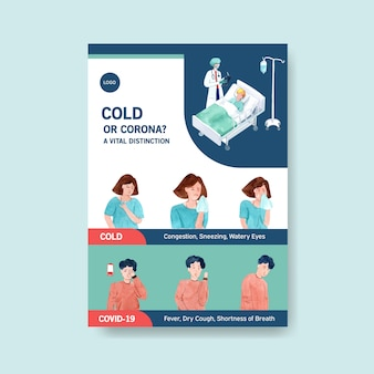 Poster design with information about the illness and healthcare