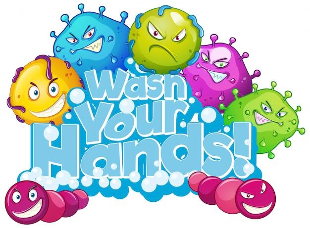 フレーズとポスターデザインは、白い背景に手を洗う