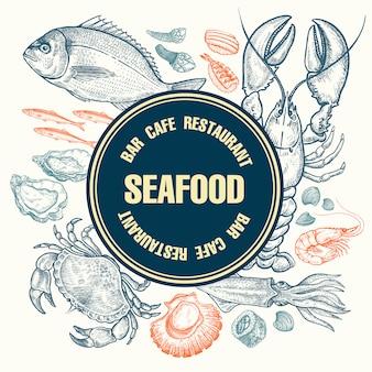 Дизайн плаката с морепродуктами.