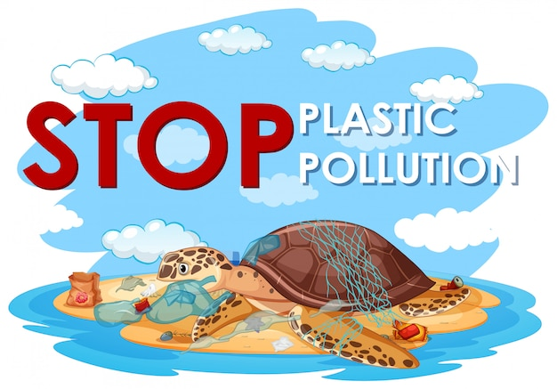 Poster design with sea turtle and plastic bags on beach