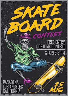 Poster design con scheletro su skateboard