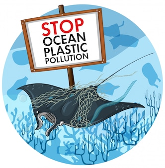 Poster design with stingray and plastic pollution sign
