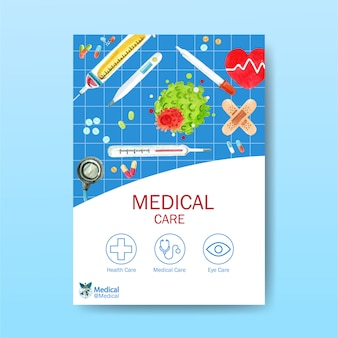 Poster design with tablets, syringe, thermometer watercolor illustration.