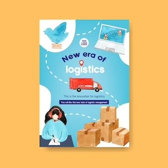 Дизайн плаката с акварельной картиной женщины, иллюстрации автомобиля.
