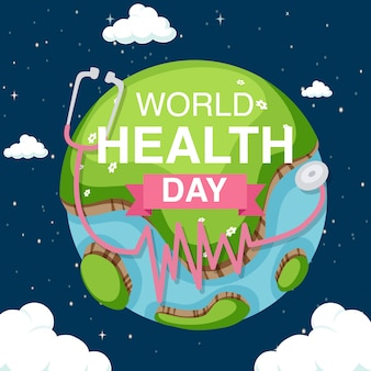 Poster design for world health day with earth in the sky background